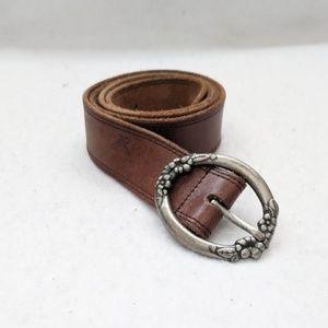 American Eagle Leather Floral Buckle Belt